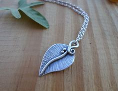 Leaf sterling silver pendant woodland jewelry by SelinofosArt