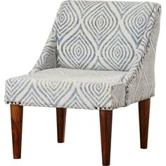 You'll be sitting pretty as soon as you add this stunning slipper chair to your space. Crafted of wood, its clean-lined frame is founded on four tapered legs and features a pair of subtle sloped arms. For a pop of pattern with breezy beauty, the seat is wrapped in cotton upholstery printed with a faded medallion motif in gray and white while nailhead accents add a dash of industrial appeal. Pull it up to your den seating group for a fantastic finishing touch, then make this decorative des...