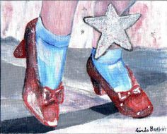 Dorothy's Shoes ACEO/ATC, Print of original acrylic painting