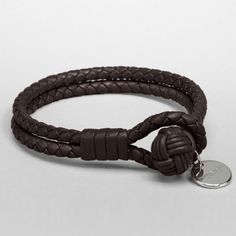 "Authentic Bottega Vaneta Leather Bracelet NWOT. Brown Leather with gold plated silver 925 stamped charm. Never worn, comes with bag. Fits a small wrist, 6"" around Bottega Veneta Jewelry Bracelets"