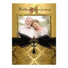 Gold Black Damask Photo 50th Anniversary Invite