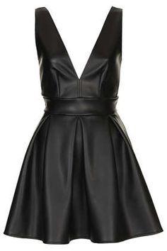 £36 **Deep V PU Skater Dress by Oh My Love