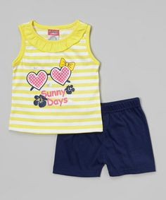 Love this Yellow 'Sunny Days' Ruffle Tank & Black Shorts - Infant & Toddler on #zulily! #zulilyfinds