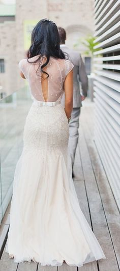 Jenny Packham wedding dress with sheer back