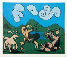 pablo picasso - linocut - bacchanals - feunes at chevre - 1962