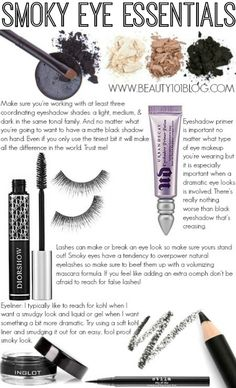 The ultimate cheat sheet for smoky eyes. Love these recommendations! #beauty #makeup #makeuptips