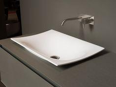 Lavabo da appoggio in Ceramilux® FOGLIO by Antonio Lupi Design® design Mario Ferrarini