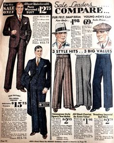 Stripe suits came in a variety of styles from 1-3 stripe sets with bold or faint lines, dot or fleck lines, thin chalk stripes, or shadowy chalk stripes. Choosing a stripe style was a matter of aesthetics. Thin stripes elongated a shorter man, while thicker stripes made a thin man appear less fragile. Everyone wanted the superman look and the right striped suit could help make that happen.