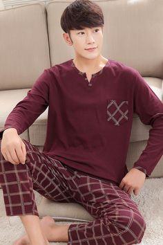e6fd139ae5529 25.5 5% de réduction|Pyjamas pour hommes automne manches longues coton Pyjamas  vêtements de nuit pull Pyjamas décontracté hommes salon pyjama ensemble  dans ...