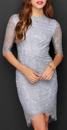 Angel Eyes Grey Lace Dress