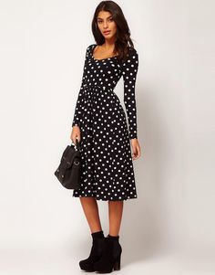 ASOS | ASOS Midi Dress In Spot Print at ASOS