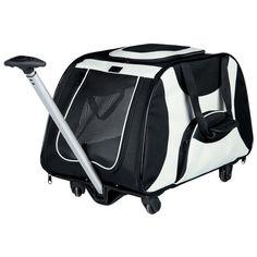 Superlyxig väska som du drar efter dig! Smart transportväska på hjul som man kan användas till hund eller katt. Friends on Tour Trolley från Trixie är en perfekt kattväska & hundväska på hjul att använda på semesterresa med hund eller katt på tåg eller buss.