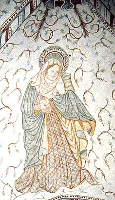 Magdalena Pintura mural , s.XV    Dinamarca Middle Ages Clothing, Alabaster Jar, Medieval World, Mother Goddess, Mary Magdalene, Romanesque, Princess Zelda, Disney Princess, 15th Century
