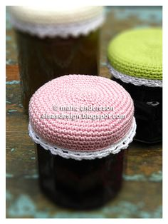 Homestead Survival: Crochet cute caps for canned food. She has some other cute patterns too