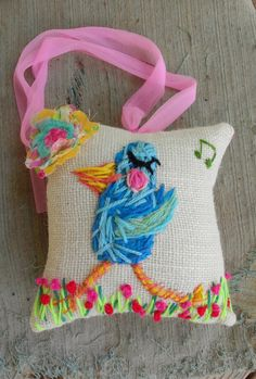 Fancy Bluebird Freehand Embroidered Mini Pillow by YelliKelli