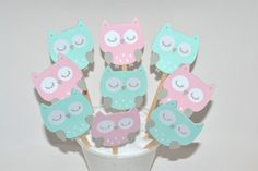 12  Owl Cupcake Toppers / Owl Birthday Party / by sunshowerstuff