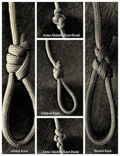 I tied these knots following the diagrams from John Shaw's book, 'The Directory of Knots'.  The 'Ichabod' and 'Gibbet' knots are sliding loop(noose) type knots, the 'Broach' knot is a fixed loop, and the front and back sides of the 'Arms-Akimbo' lanyard knot are shown, all tied with paracord.