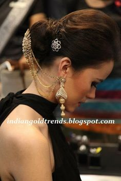 Latest Indian Gold and Diamond Jewellery Designs: Diamond head accessories and contemporary diamond jhumkas
