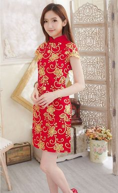 Perfectly Lucky in red and gold for Chinese New Year....Classic Cheongsam | Stylisca Fashion Shop Malaysia