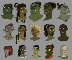 Some orcs, half-orc half-humans, and some part orcs! Orcs are one of my favourite races is DnD! second from the left in the bottom row is my dungeon world character Olivia! Fantasy Character Design, Character Creation, Character Design Inspiration, Character Concept, Character Art, Dungeons And Dragons Characters, Dnd Characters, Fantasy Characters, Fantasy Races