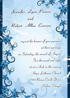 affordable beach wedding invitations simple vintage blue damask EWI039