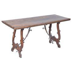 Anitque Walnut Trestle Table with Elaborate Iron Stretcher
