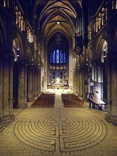 About eight years ago I walked the labyrinth in Chartres Cathedral in France. This labyrinth is ancient and famous — many thousands of people have walked through its twists and turns. Sacred Architecture, Cathedral Architecture, Cultural Architecture, Architecture Classique, Labyrinth Maze, Cathedral Church, Chapelle, Place Of Worship, Elements Of Art