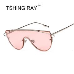 c3a23bd4a6 Unique Flat Top Oversize One Piece Lens Rimless Sunglasses Women Fashion  Brand Designer Metal Frame Clear