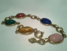 Vintage Gold Sarah Cov Multi Colored Faux Stones Egyptian Scarab Bracelet #SarahCoventry