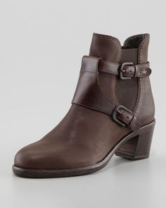 Leather Stretch-Side Harness Ankle Boot by Henry Beguelin at Neiman Marcus.