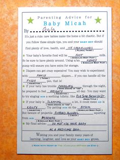 Baby shower game - BABY Shower Mad Libs