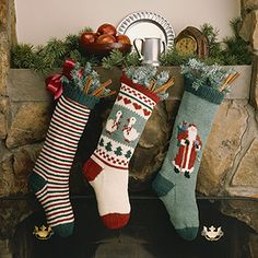Leisure Arts - Christmas Stocking Trio Knit Patterns ePattern, $3.00 (http://www.leisurearts.com/products/christmas-stocking-trio-knit-patterns-epattern.html)
