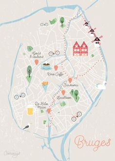 Travel infographic Contemplating a trip to Bruges Belgium? Dont miss out on travel tips food fa Travel Illustration, City Maps, Map Design, Travel Maps, Best Places To Travel, Travel Alone, European Travel, Planer, Inspiration