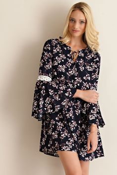 Floral Print Bell Sleeve Dress - Navy