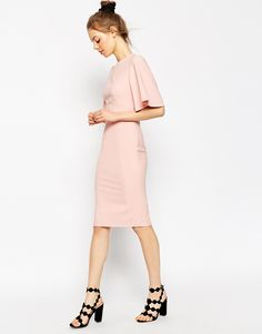 Image 4 of ASOS Exaggerated Angel Sleeve Pencil Dress with Open Back