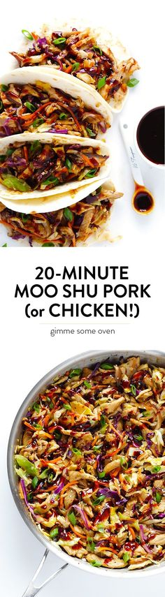 how to make restaurant-quality Moo Shu Pork (or Moo Shu Chicken!) at home in just 20 minutes. So easy, so fresh, and soooo good!Learn how to make restaurant-quality Moo Shu Pork (or Moo Shu Chicken!) at home in just 20 minutes. So easy, so fresh, and soo Moo Shu Chicken, Moo Shu Pork, Chicken Tacos, Moo Shu Shrimp, Pork Tacos, New Recipes, Cooking Recipes, Healthy Recipes, Recipies