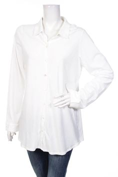 BNWT EILEEN FISHER WOMEN SHIRT WHITE BUTTONS Size L 100% ORGANIC COTTON NEW #EileenFisher #ButtonDownShirt #Career