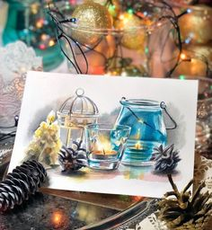 La imagen puede contener: mesa e interior Watercolor And Ink, Watercolor Illustration, Watercolor Paintings, Watercolors, Winter Painting, Painting For Kids, Christmas Drawing, Wonderful Picture, Aesthetic Drawing
