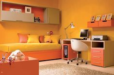 Bedroom, Small Kids Bedroom Design Ideas With Warmth Of Orange: Small Bedroom Ideas for The Tiny Spaces