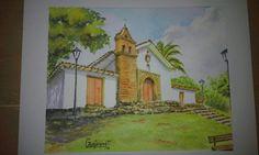 Iglesia San Antonio, Cali. Acuarela por Gerardo Vejarano