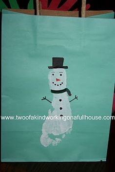 Homemade Gift Ideas From The Kids - #Handmade #footprint #snowman #giftbag #Christmas
