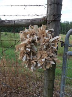 READY to SHIP Burlap Wreath Rag Rustic Wedding Decor by misshettie, $45.00