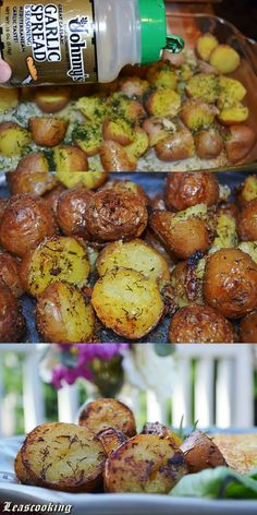 Side dish wedding: Garlic Roasted Red Potatoes añadir tomate cherry a la mitad