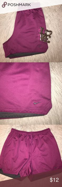 "Nike Gym Shorts size medium Great condition purple color width 15"" length 15"" ... Bundle and save ... Happy Poshing Nike Shorts"