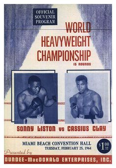 """1964 Sonny Liston vs Cassius Clay - Muhammad Ali Boxing poster Miami Beach • $9.95 - 100% Mint unused condition • Well discounted price + we combine shipping • Click on image for awesome view • Poster is 12"""" x 18"""" • Semi-Gloss Finish • Great Boxing Collectible - superb copy of original • Usually ships within 72 hours or less with > tracking. • Satisfaction guaranteed or your money back. Sportsworldwest.com"""