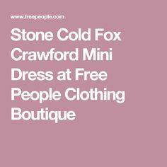 Stone Cold Fox Crawford Mini Dress at Free People Clothing Boutique