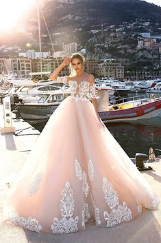 Prom Dress For Teens, Dramatic Illusion Neck Half Sleeves Pink Ball Gown Court Train Wedding Dress with Appliques, cheap prom dresses, beautiful dresses for prom. Best prom gowns online to make you the spotlight for special occasions. Sheer Wedding Dress, Wedding Dress Train, Wedding Dress Sleeves, Long Wedding Dresses, Designer Wedding Dresses, Bridal Dresses, Wedding Gowns, Wedding Bells, Floral Wedding