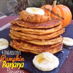4-Ingredients. Pumpkin. Banana. Less than 200 calories.  Count me in! Find this recipe on FreshFitNHealthy.com and follow me on instagram: @freshfitnhealthy