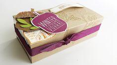 """Verpackung für Belgische Pralinen """"Meeresfrüchte"""", für viele Anlässe, Herbstliche Verpackung, Savanne, Himbeerrot, mit crehand & Stampin' Up!, Videoanleitung auf meinem Blog und YouTube"""
