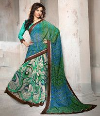 Green & Blue Color Georgette Casual Party Sarees : Athira Collection YF-32276